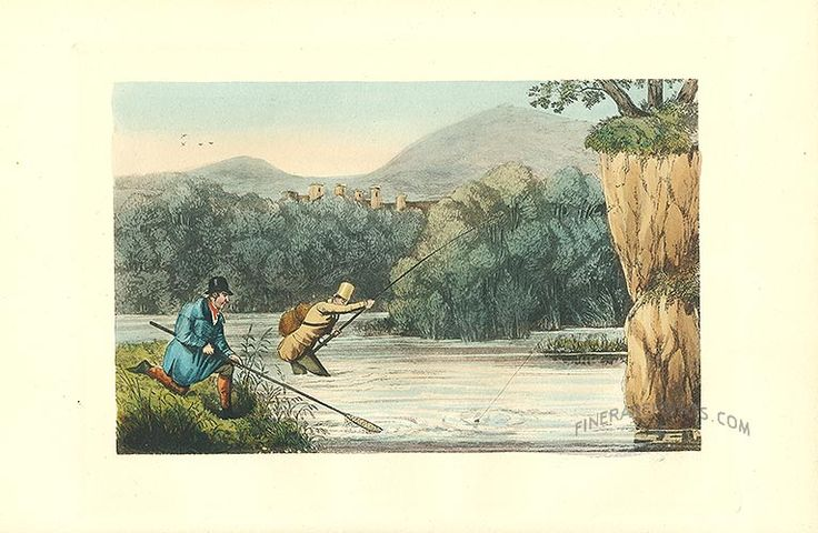 Antique print: The shallows below the mill - Fishing in a river [#22106]