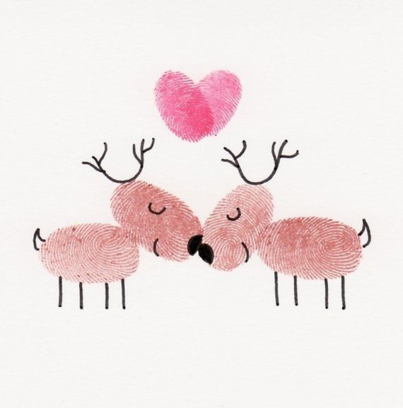 This card featuring a couple of kissing fingerprint reindeer is perfect for wishing your sweetheart a merry little Christmas.    ---The photo of