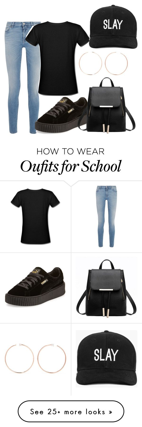 """""""How to style a basic black tee look #1"""" by thestylegosssip on Polyvore featuring Givenchy, Anita Ko, Puma and Boohoo"""