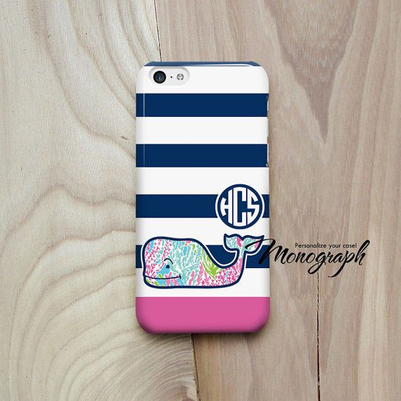 iPhone 5 Case, Monogram iPhone 5S Case Cute Pink Whale vineyard vines inspired pattern, iPhone 4 Case, iPhone 3, iPod Touch Case on Etsy, $15.35