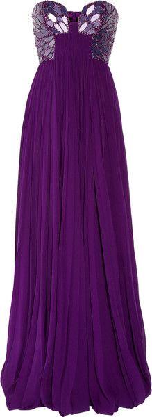 Embellished Silk-Chiffon Bustier Gown
