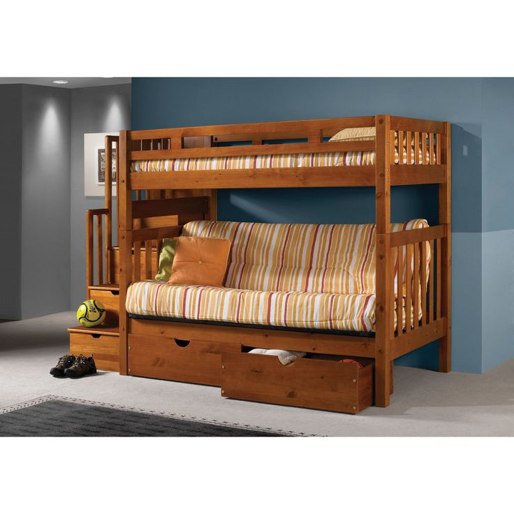 Donco Kids Tall Over Futon Mission Stairway Honey Bunk Bed With Storage Drawers