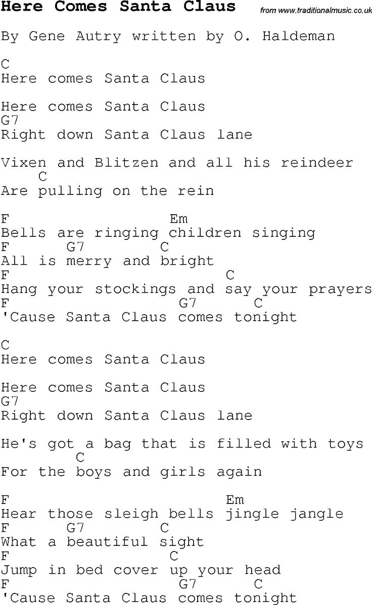 Christmas Songs and Carols, lyrics with chords for guitar banjo for Here Comes Santa Claus