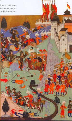 """Bayezid I, """"The Thunderbolt,"""" Routs the Crusaders at the Battle of Nicopolis, 1396-Hünernâme of 1588 by Lokman"""