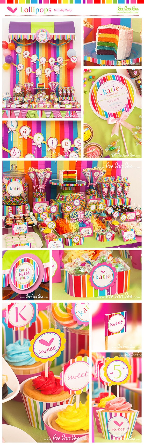 Lollipop Birthday Party Mega Set  PERSONALIZED by LeeLaaLoo, $35.00