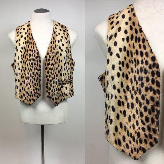 8610955c621 1950s Authentic Leopard Print Men's Vest / vintage 50s Elvis Leopard Print  Rockabilly Tarzan Vest / size L - XL