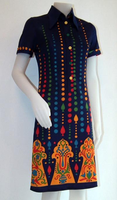 Original dress '60 years - wonderful pattern. Abito originale anni '60. bellissima fantasia. By http://www.facebook.com/jsvintage