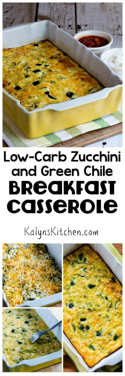 This Low-Carb Zucchini and Green Chile Breakfast Casserole is a delicious way to use extra zucchini; PIN NOW because you know you'll be needing zucchini ideas soon!  [found on KalynsKitchen.com]