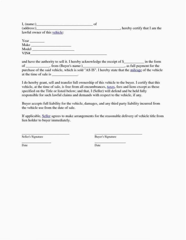 Bill of sale document template 36 awesome image blank