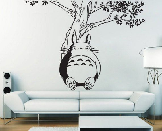 tall 120cm removable totoro tree vinyl wall decal
