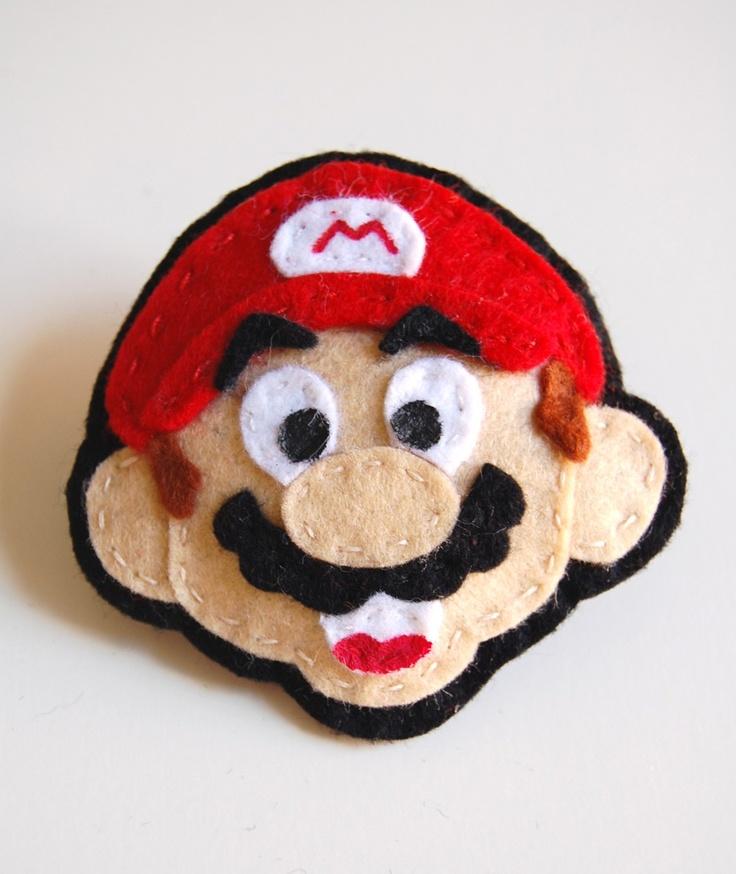Mario Felt Brooch ... Nintendo 80s Geek, Retro, Fun, Nerd, Dork, Cool. $14.00, via Etsy.