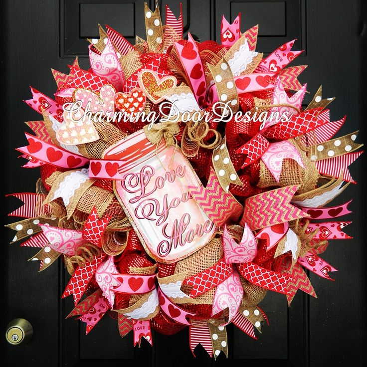 """""""Love You More"""" Valentine's Day wreath by CharmingDoorDesigns on Etsy"""