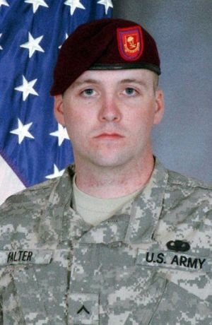 Army Pfc. Shawn P. Falter  Died January 20, 2007 Serving During Operation Iraqi Freedom  25, of Cortland, N.Y.; assigned to the 2nd Battalion, 377th Parachute Field Artillery Regiment, 4th Brigade Combat Team, 25th Infantry Division, Fort Richardson, Alaska; died Jan. 20 in Karbala, Iraq, from wounds sustained when his patrol was ambushed while conducting dismounted operations.
