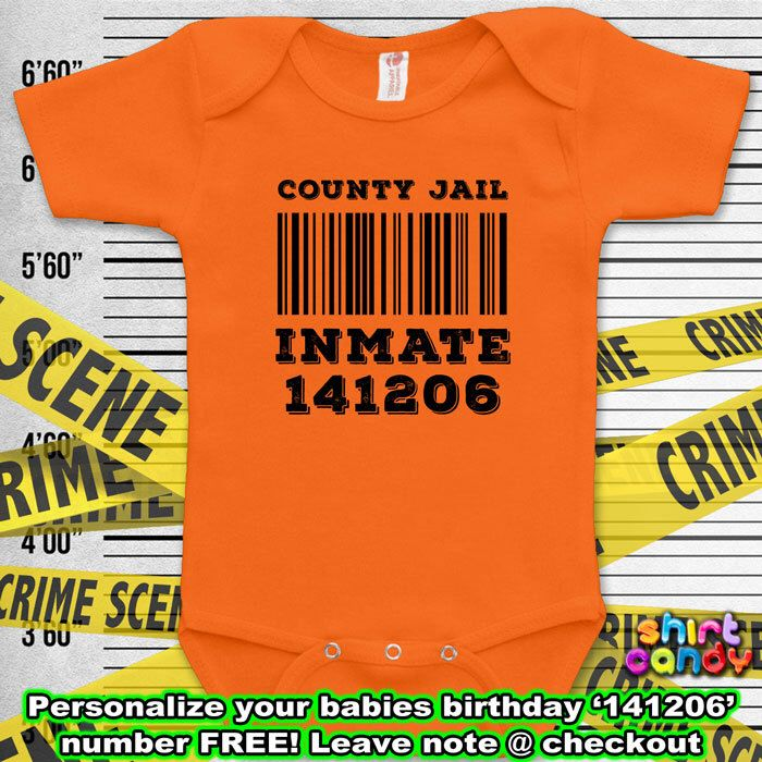 County Jail Inmate Costume Funny Baby Prison Outfit Bodysuit One Piece Infant Clothes Romper Baby Boy Unique Shower Gift For Her Birthday by ShirtCandy on Etsy https://www.etsy.com/listing/211000901/county-jail-inmate-costume-funny-baby