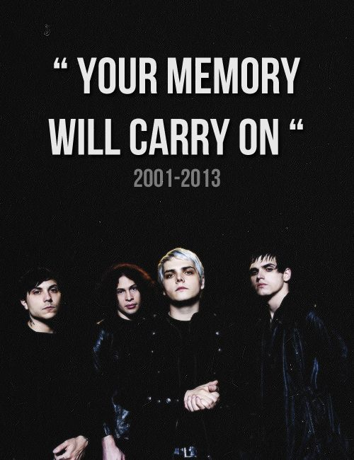 "Y'know, MCR was actually my favorite band for a period of time. 3 yrs. to be exact. I got into them when I was 6--around a time when Green Day hadn't been working on anything yet. But I have to say that my heart shattered and tears ran down my face as I listened to Cancer and found out that they were breaking up. ""KILLJOYS! MAKE SOME NOISE!!!""-Janice H."