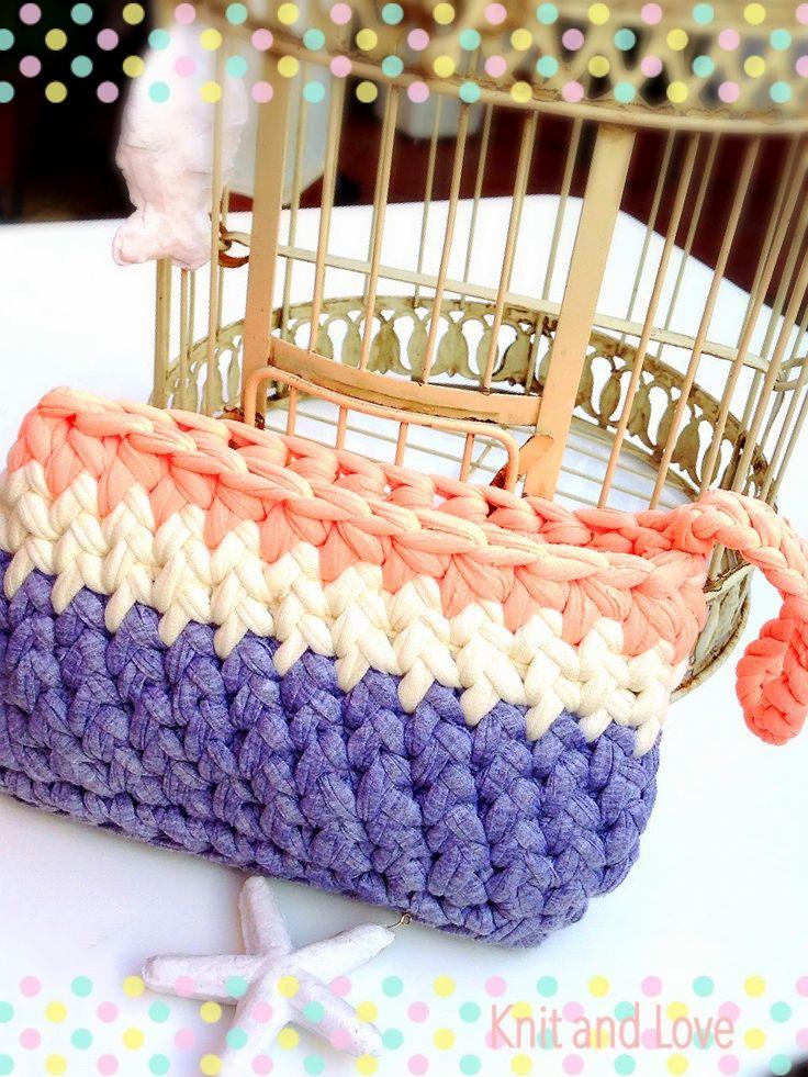 PASO A PASO BOLSO DE MANO TRAPILLO PUNTO ESPIGA - Knit and Love