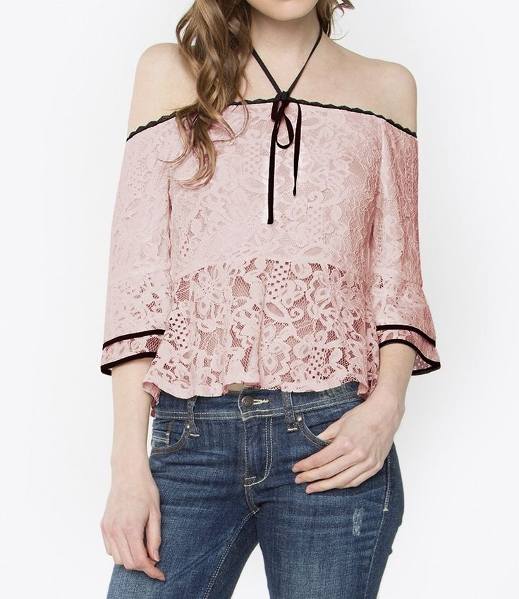 Blush top/ pink /lace /off the shoulder