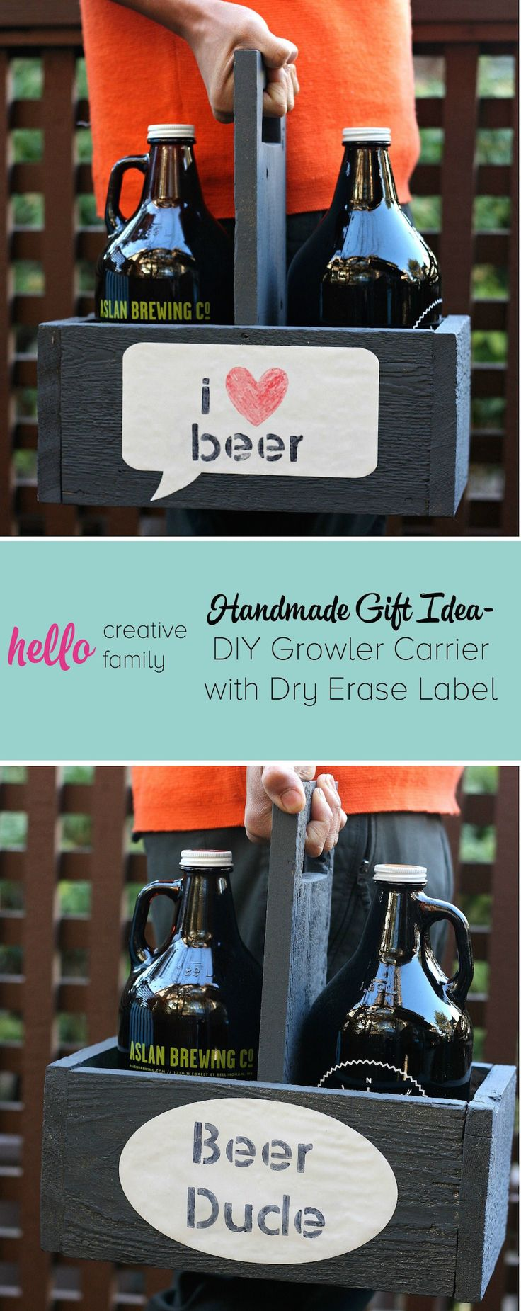 188 best fathers day crafts for kids images on pinterest fathers handmade gift idea diy growler carrier with dry erase label solutioingenieria Choice Image