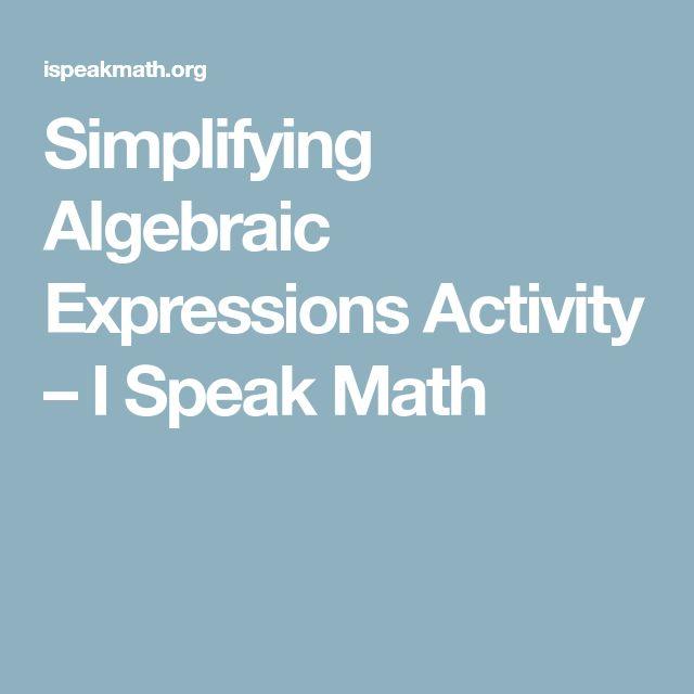 The  Best Simplifying Algebraic Expressions Ideas On