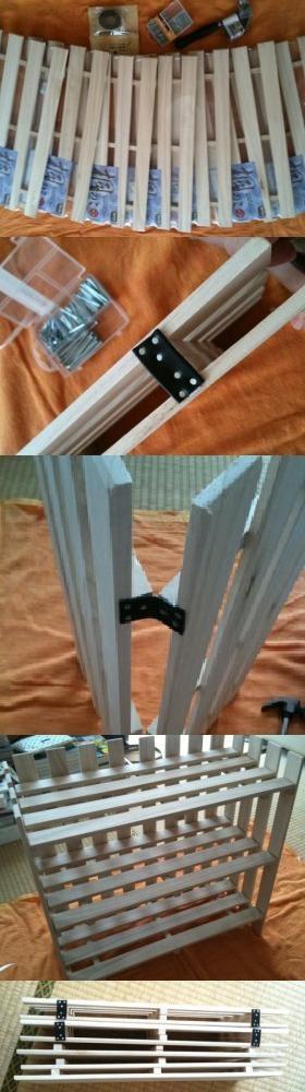 バラし可。棚板に磁石やマジックテープをつけて固定すると安定。