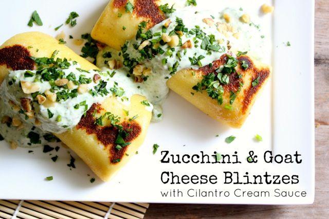 Goat Cheese and Zucchini Blintzes with Cilantro Cream Sauce