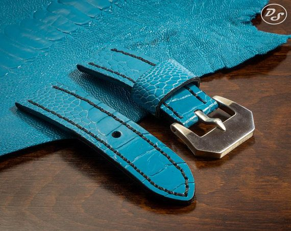 Made to order Handmade Sky Blue Ostrich leg leather watch strap 20 22 24 26 mm Made in Italy