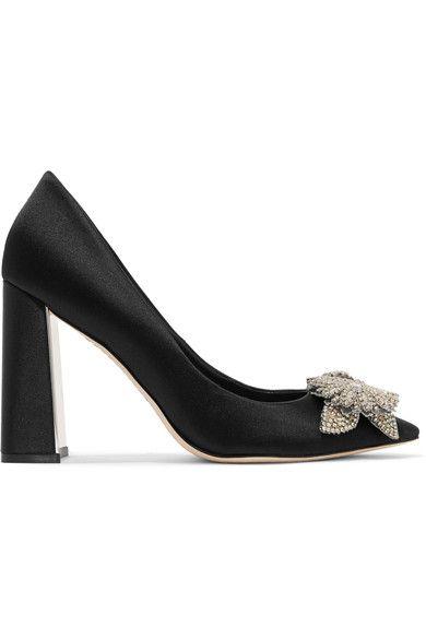 SOPHIA WEBSTER Lilico crystal-embellished satin pumps. #sophiawebster #shoes #