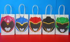 PRINTABLE--> Power Rangers Dino Charge Party Favor Bags - Power Rangers Birthday Party Favors/ Goodie/ Goody/ Loot/ Treat/ Candy/ Party bags by CreativePartyStudio on Etsy https://www.etsy.com/listing/475142581/printable-power-rangers-dino-charge