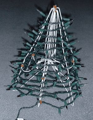 mini christmas tree using 6 wire hangers, lights, garland, craft pipe cleaners, and glue gun