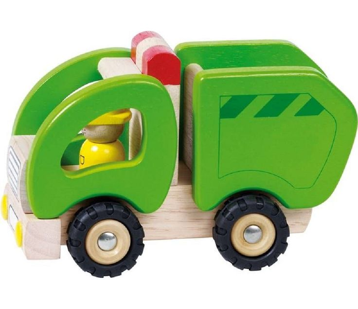 Lekebil i tre, grønn søppelbil fra Sprell. Om denne nettbutikken: http://nettbutikknytt.no/sprell-no/