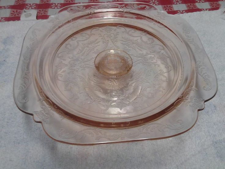 Pink Depression Glass Cake Stand