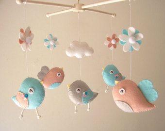 Baby crib mobile Bird mobile felt mobile nursery by Feltnjoy