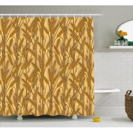 Harvest Shower Curtain Cereal Ears Rural Wheat Rye Field Pattern Agriculture Farmland Country Life Fabric Bathroom Set With Hooks 69W X 75L Inches Long