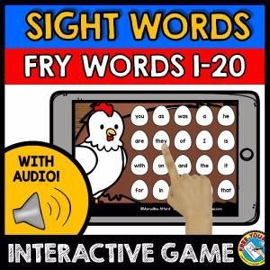 FRY WORDS 1-20 (SIGHT WORDS GAME WITH AUDIO)    A fun sight words game (Fry words) where kids hear sight words and click the corresponding words. Farm theme makes it even more fun for kids to hunt for the words! :)    This game contains 20 words from the 1st Fry Sight words list. The other other sight words are found in another four games.     Keywords: identifying sight words, interactive audio game, Kindergarten sight words, Fry words, Fry Sight Words, Farm theme