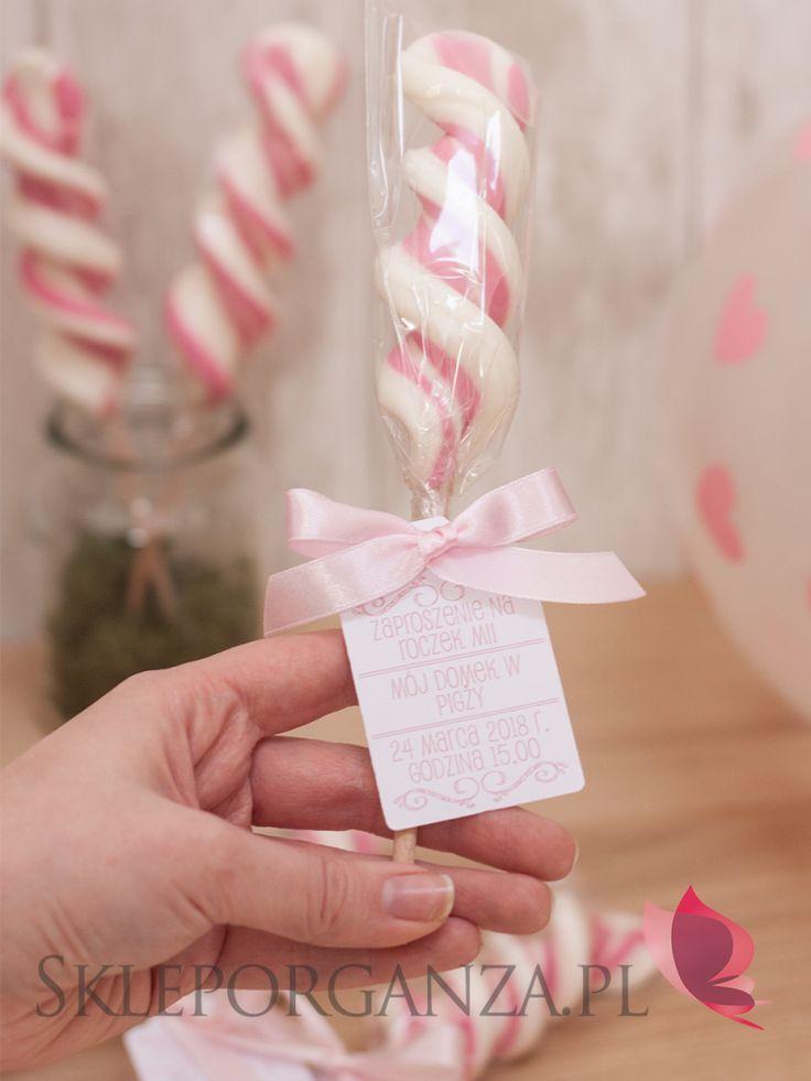lizak świderek różowo biały