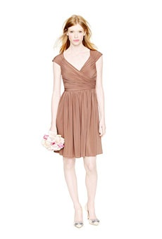 J.Crew A-line, jersey tan bridesmaid dress with cap sleeves