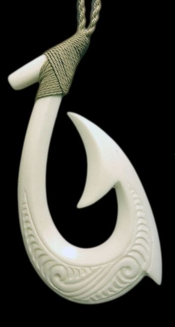 The Hei Matau (Maori) Makau (Hawaiian) fish hook represents not only the land, but prosperity, abundance, good luck, and safe journey--esp over water. Comes on a traditional style, double sliding slip knot, cord that can be adjusted to a variety of lengths. SIZE: 6.5cm (65mm) L x 3.7cm (37mm) W / Inches: 2.5 L x 1.5 W (As this item is hand crafted, please note that there may be slight variations in actual size.) Packaging includes the name of the piece and its meaning. Note: All bone ...