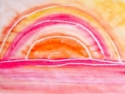 Georgia O'Keeffe watercolor sunrise