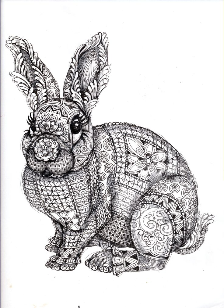 for Coloring outlets vuxna  and air    adults   Coloring Zentangle kleuren   volwassenen adults   Rabbit    page f  r book M  larb  cker voor coloring