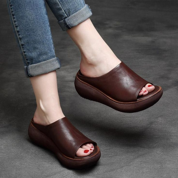 Summer retro leather sandals slippers slippers , #Leather #Retro #Sandals #slippers #Summer