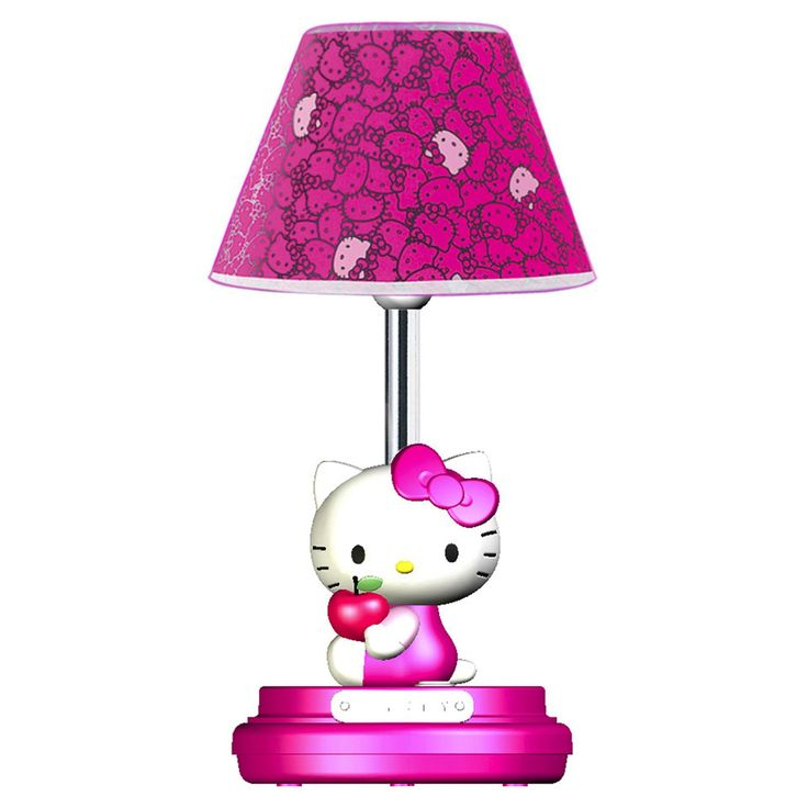 Hello Kitty Table Lamp- Magenta Decorative Hello Kitty Lampshade Simple, Uni-Mount Design Allows Changing of Light Bulbs without Removing Shade On/Off Switch Stable, Attractive Molded Base with Padded