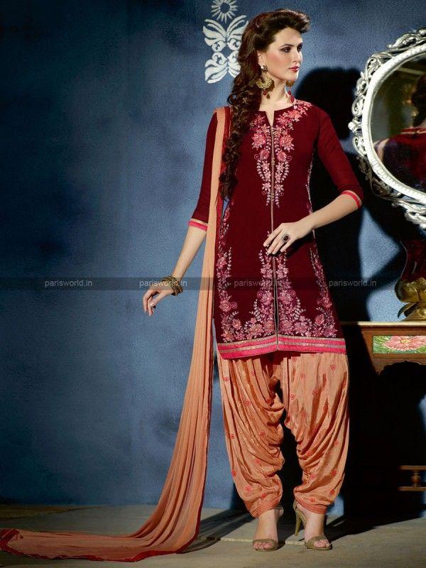 Maroon Georgette Elegant Patiala Salwar kameez
