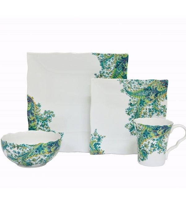 Features:  -Ruffled edges.  -Teal paisley print.  -Set includes 4 dinner plates, 4 salad plates, 4 bowls and 4 mugs.  Color: -Teal.  Style: -Bohemian.  Material: -Porcelain.  Number of Items Included: