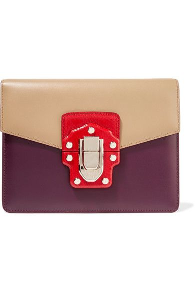 Dolce & Gabbana - Lucia Ayers-trimmed Color-block Leather Shoulder Bag - Plum - one size
