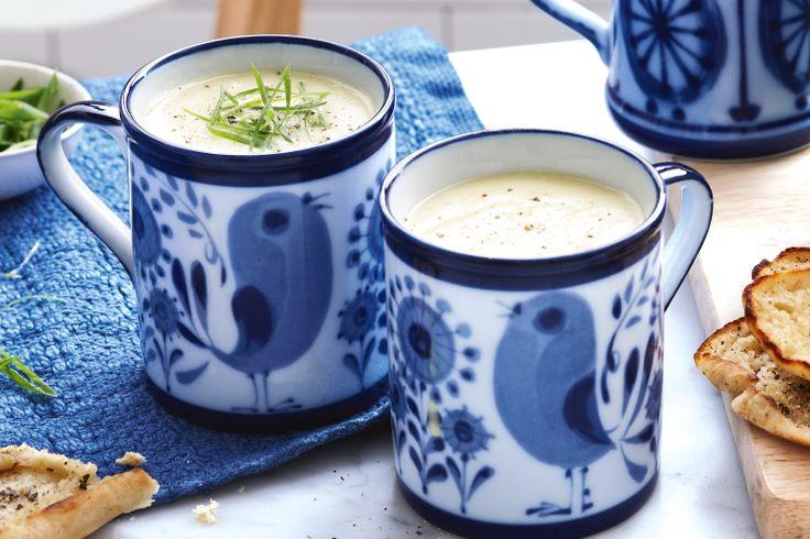 Leek and potato soup http://www.taste.com.au/recipes/30801/leek+and+potato+soup