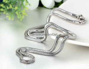 """23.6"""" New Fashion Snake Texture Shape Mens Stainless Steel Chain Necklace*3MM 