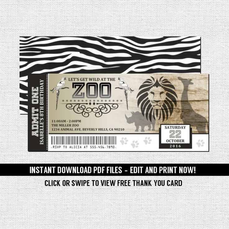 Zoo Ticket Invitations Birthday Party - Jungle Animal Safari (Instant Download) Editable Printable PDF Files Bonus Thank You Card - Zebra by nowanorris on Etsy https://www.etsy.com/listing/476563103/zoo-ticket-invitations-birthday-party