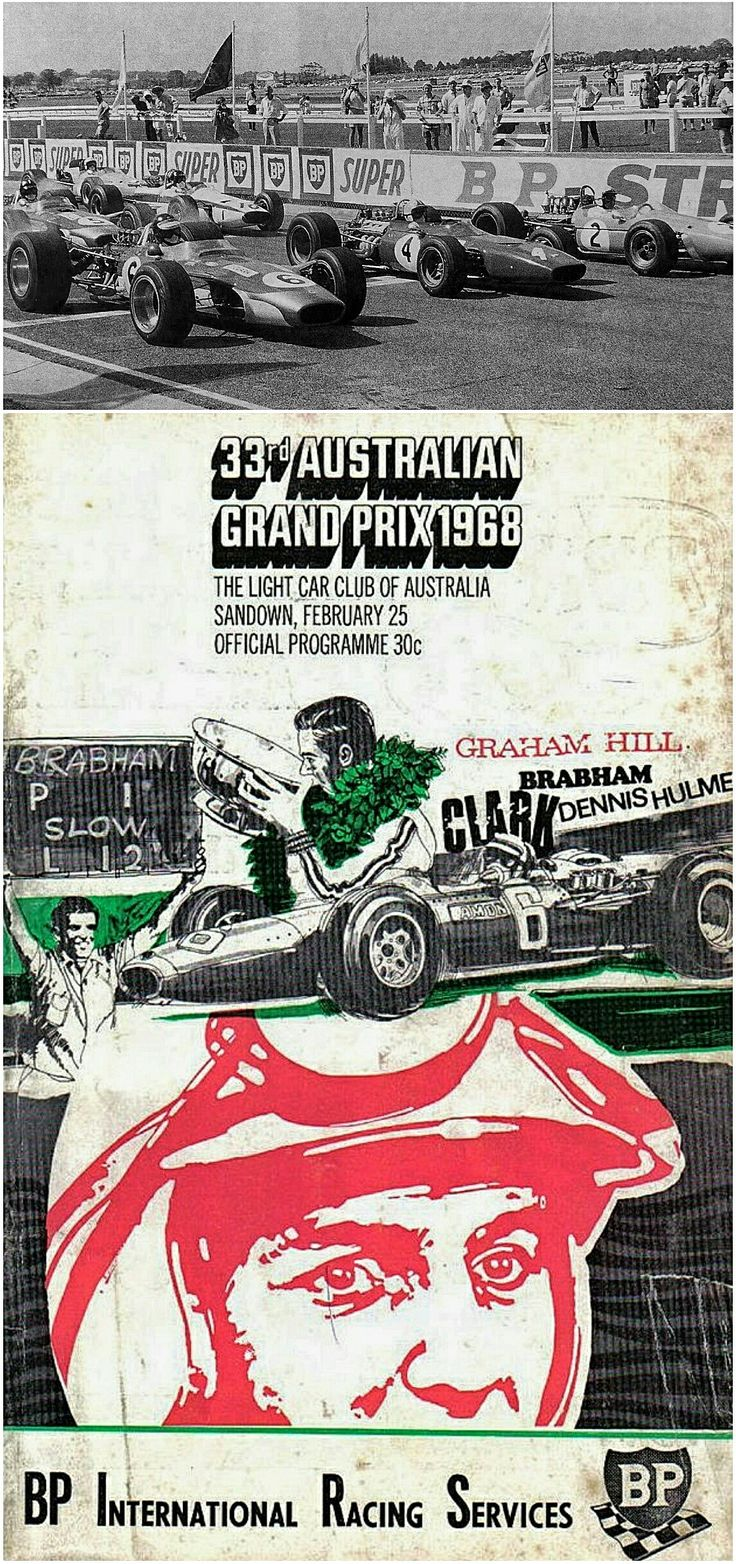 The 25 February 1968 Australian Grand Prix featured a star studded field, with Jim Clark, Chris Amon, and Jack Brabham on the front row (pictured). Brabham started the race on pole, Amon drove the fastest race lap, but Scotsman Jim Clark powered his Lotus 49T to his last major victory. Clark, a double world champion and Indy 500 winner, was killed in a crash in Germany just 6 weeks later.