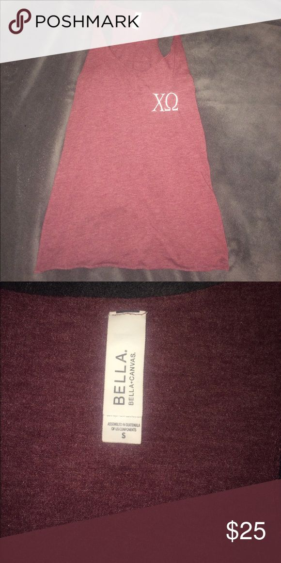 Chi Omega Letter Tank Maroon/plum colored soft Bella tank with chi omega letters. Tops Tank Tops