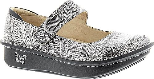 Alegria Shoes - The perfect mary jane slip-on for your casual or work attire. Pebbled leather nappa leather snake-print leather patent or printed patent leather upper. - #alegriashoes #grayshoes